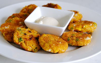 Cheesy Pea and Corn Nuggets