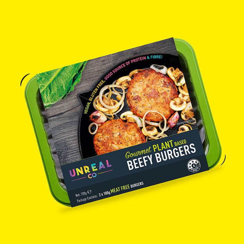 Unreal Co. Gourmet Beefy Burgers
